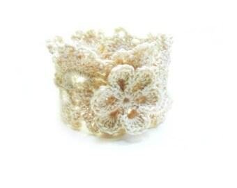 Antique-White Lace Bracelet by Anne O'Brien Design / Crochet Lace Bracelet / Lace Accessories