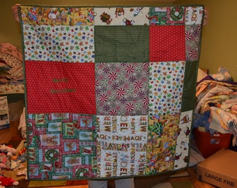 homemade baby christmas quilt