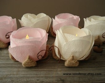 Rustic Wedding Decor, 6 Flower LED Holders, Rustic Ivory Light Pink Wedding, Rustic Wedding Led Centerpiece, Rustic Country Wedding Lighting