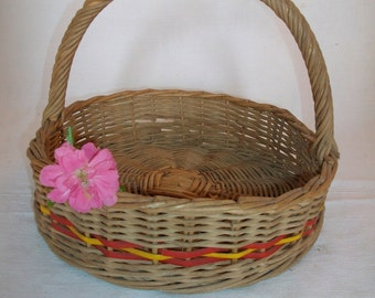 French Wicker Basket - Vintage Cane Basket - Nordic Home Decor - Old Fruit and Vegetables Basket - Round Berry Collecting Basket