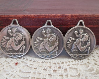 Vintage French Souvenir Medals, St. Christopher, Advertising Medals, Bordeaux Bijouterie Industriel