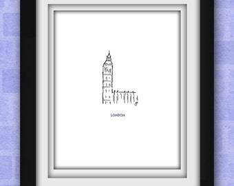 London's Big Ben Minimalist Print