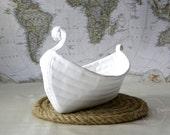 Viking Boat Basket Home Decoration, Sea House, Lake House, Rustic Decor, makeup organizer, table decoration, fabric basket.