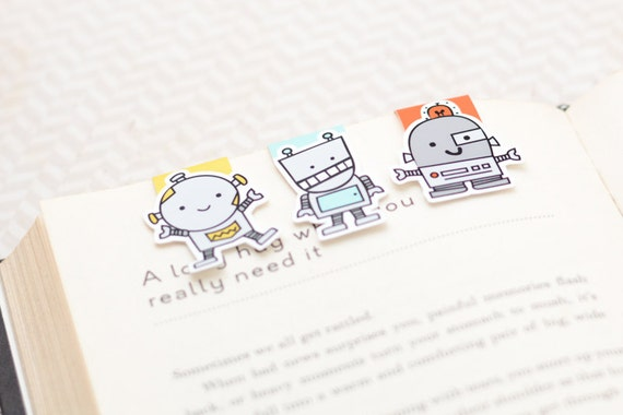Robot Magnetic Bookmarks (Mini 3 Pack)