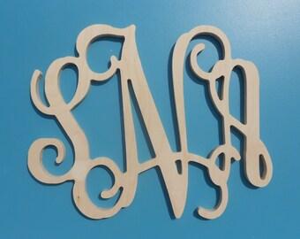 "28"" Wooden Monogram Vine Font Unpainted wood letters Room Decor Childrens Room"