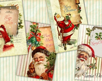 Digital collage sheet -Santa Claus-Greeting card 4x6 inch-set of 4 cards-Vintage Illustration-Printable Download Large Image