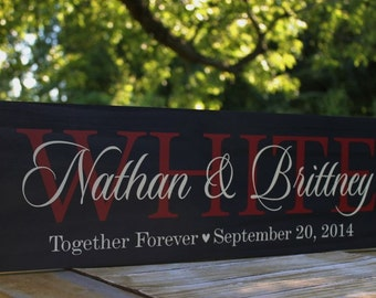Christmas Gift, Wedding Signs, Family name sign Personalized Last name, Custom Wedding sign Gift Established Date Anniversary Wooden Plaque