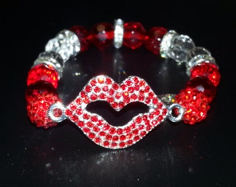 Red Studded Lips Bracelet