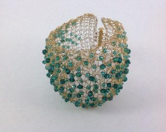 Wire crochet cuff bracelet