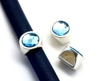 Half Round Swarovski Crystal Slider, Aquamarine and Antique Silver Finding