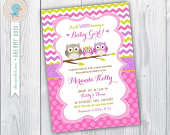 owl baby shower invitation / owl baby shower printable / owl baby shower invite / baby girl owl invitations / baby girl owl invitations