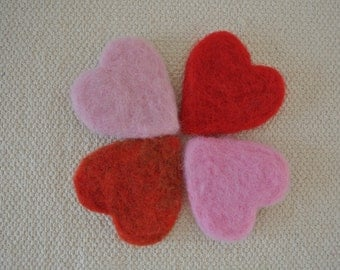 Large 100% Wool Felted Hearts