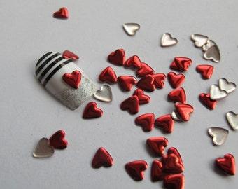 S-83 200pcs Cute 6mm Red Heart Metal Stud Decoration Nail Art decoration