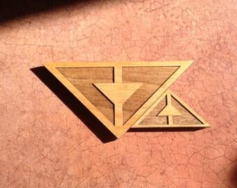 Tri Design Wood Magnet (set of 2)