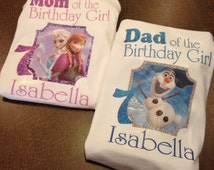 Mom of the birthday girl, dad of the birthday girl, frozen family shirts, mom frozen shirt, dad frozen shirt, frozen fever