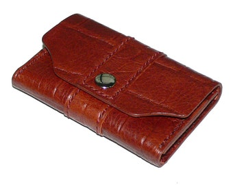 Mahogany Brown Leather Business Card Case, Crocodile Grain Leather
