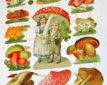 New German Victorian mushrooms & children Hansel Gretel die cuts scraps sheet ef 7355 card making scrap booking paper