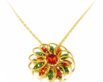 Stunning Orange and Green Rhinestone Gold Tone Pendant Necklace