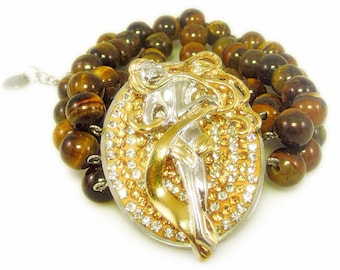 Stunning Rhinestone Encrusted Woman and Tiger's Eye Bead Bracelet