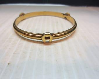 Vintage Etienne Aigner Bangle Bracelet Gold Tone