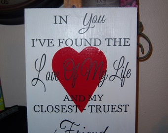 In you I found wooden sign