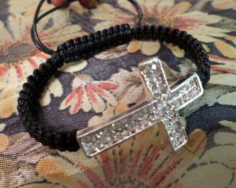 Free Cross Bracelet, Cross Sideways Bracelet, Cross Macrame Bracelet, Cross Sideways Black Macrame Bracelet Friendship