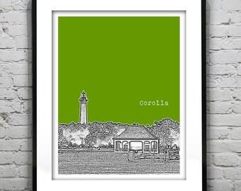 Corolla North Carolina Poster Art Print Lighthouse North Carolina NC