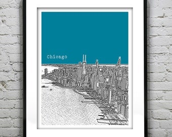 Chicago Poster Skyline Art Print  Illinois  Water view Version 10