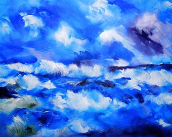Original Art Print. Ocean splashing waves Original oil painting by BrandanC