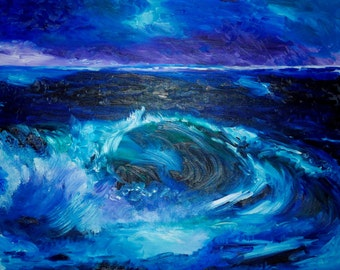 Original Art Print. Ocean Splashing Wave Original oil painting by BrandanC