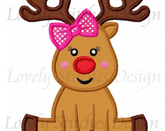 Christmas Reindeer Girl Applique Machine Embroidery Design NO:0279