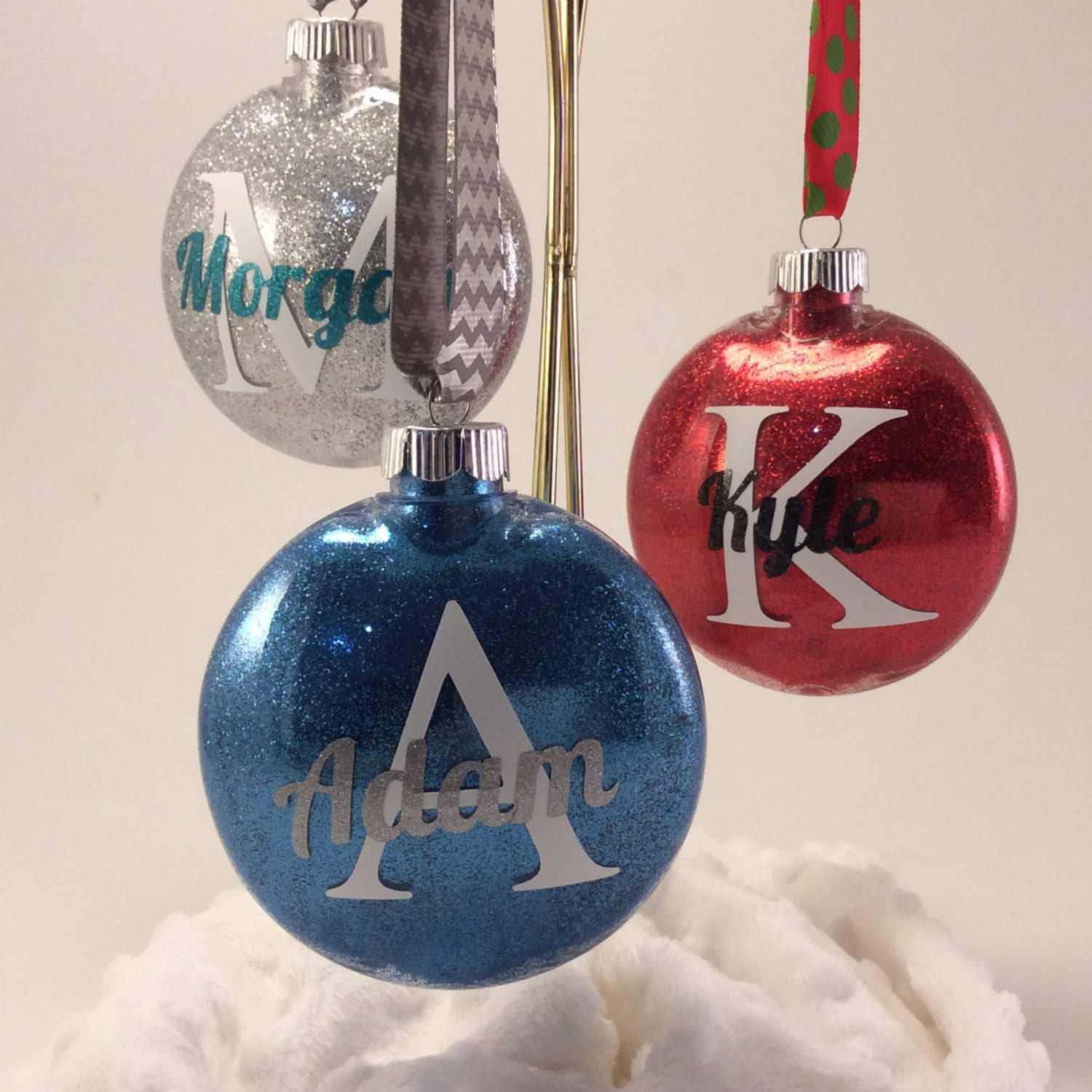 Personalized Glitter Ornaments By GemLights On Etsy