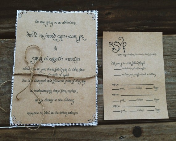 Lord of the rings wedding invitations with ivory burlap for Pictures of wedding rings for invitations