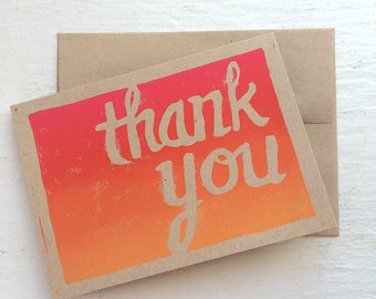 Ombre Thank You Script in pink, orange, yellow -- block print, hand lettering