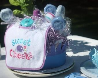 Sweet Cheeks Diaper Cake With Lollipop Washcloths - Purple and Blue - Boy Diaper Cake