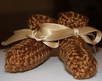 Brown Preemie Boy Baby Booties - Crochet Brown Preemie Booties