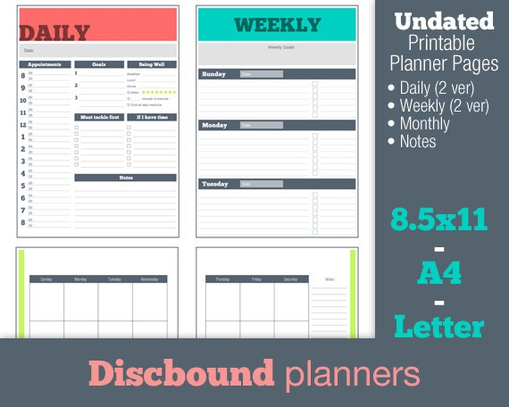 Resource image inside discbound planner pages printable