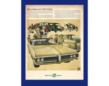 PONTIAC BONNEVILLE AUTOMOBILE Original 1968 Vintage Extra Large Print Ad - Couple in Old Fashioned Clothing; Yellow Car; Antique Auto Show