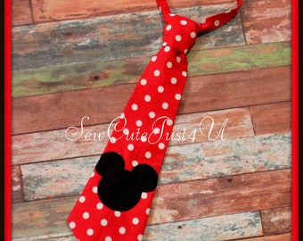 Mickey Mouse Embroidered Little Man Tie- Red and White Polka Dot