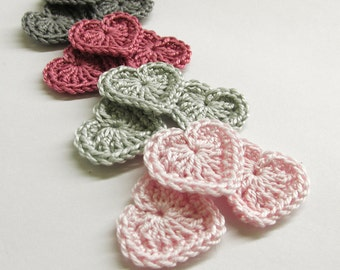 Crochet hearts 0.8 inches gray, pink tiny appliques, set of 12