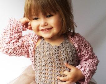 Crochet Girls Bolero. Knit shrug for girls