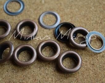 50 Grommets Eyelets Antique Copper 5mm 6mm 8mm, 2 Part