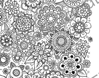 """Digital Download """"Flowers"""" Coloring Page"""