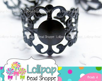 BLACK Filigree RING BLANK Ring Base Ring Blanks 10 Fully Adjustable Plain Ring Shank Cabochon Setting 8mm Flat Pad Glue On Pad Diy Jewelry
