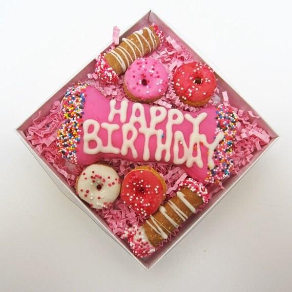 Pretty In Pink Birthday Gras Dog Treat Gift Box Happy