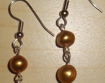 Bronze pearl dangle earrings