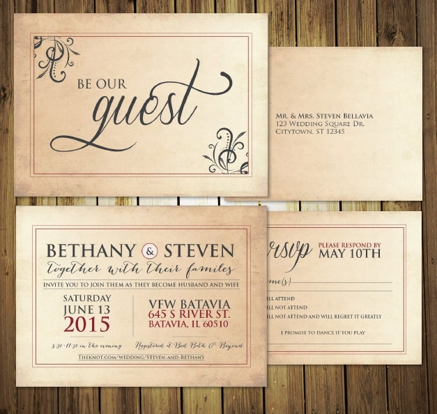 Be Our Guest Wedding Invitation RSVP Menu Postcards