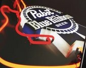 12x12 inch framed Instagram print of PBR Pabst Blue Ribbon guitar neon light