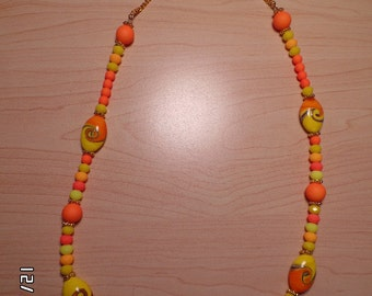 "26 "" necklace in orange, yellow and other neon colors"