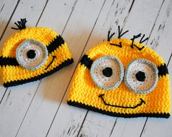 Minion Hat - Crochet Minion Hat - Photography Prop - Newborn Prop - Minion Beanie - Minion